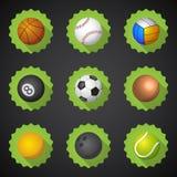 Vecteur réglé d'icône plate de Voleyball etc. du football du football de boules de sport illustration stock