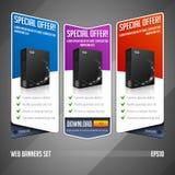 Vecteur réglé d'offre spéciale de bannière moderne de Web coloré Photos stock