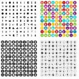 100 vecteur réglé de boisson par icônes variable Photographie stock