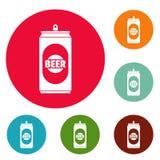 Vecteur réglé de cercle d'icônes de canette de bière illustration stock