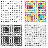 100 vecteur réglé de chronomètre par icônes variable Images libres de droits