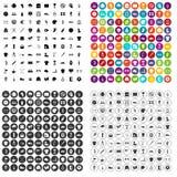 100 vecteur réglé de club de sport par icônes variable Images stock