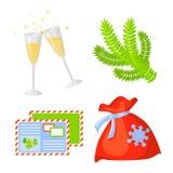 Vecteur réglé de collection d'icône de Noël cartoon Symboles traditionnels de nouvelle année objets d'icônes D'isolement illustration stock