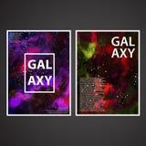 Vecteur réglé de conception de couvertures d'affiche de texture peint par galaxie illustration stock