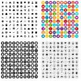 100 vecteur réglé de données de statistique par icônes variable Images stock