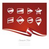 Vecteur réglé de fond de l'Autriche de drapeau d'icône abstraite de ruban Photos libres de droits