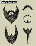 Vecteur réglé de griffonnage de barbe Image stock