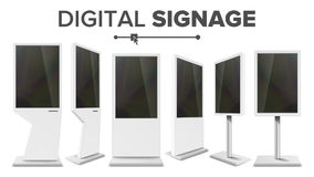Vecteur réglé de kiosque de contact de Signage de Digital Écran de visualisation Support de multimédia Signage élevé d'affichage  Photos libres de droits
