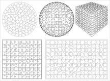 Vecteur réglé de la forme 3d de puzzle isométrique unique transparent vide de fond Image libre de droits