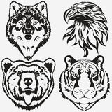 Vecteur réglé de logo de Tiger Eagle Wolf Bear illustration de vecteur