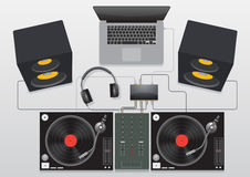 Vecteur réglé de mélange de plaque tournante du DJ image libre de droits