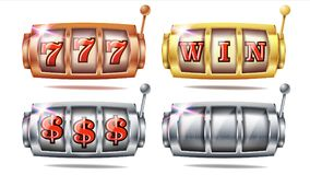 Vecteur réglé de machine à sous 777 Conception de fond de bingo-test Roue de rotation Gros lot de fortune D'or, argenté, bronze c Images stock