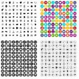 100 vecteur réglé de réseau de soutien par icônes variable Photo stock