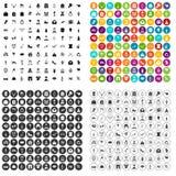 100 vecteur réglé de Saint Valentin par icônes variable Image stock