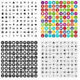 100 vecteur réglé de succès par icônes variable Photos stock