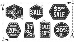 Vecteur réglé par bannières de vente Silhouettes de bord Icônes de remise promotion Demi autocollants des prix Illustration d'iso Image stock