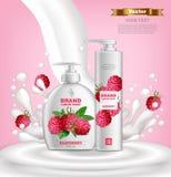 Vecteur réglé par cosmétiques de framboise réaliste Collection de savon liquide Moquerie d'emballage de produit  La conception de illustration libre de droits