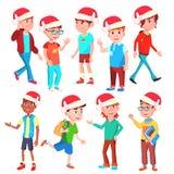 Vecteur réglé par enfants de Noël Santa Hat Garçons et filles eve Illustration d'isolement de bande dessinée illustration de vecteur