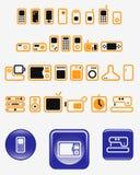 vecteur réglé par graphismes de maison de l'électronique de boutons Photos stock