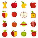 Vecteur réglé par icônes d'Apple plat illustration stock