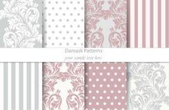 Vecteur réglé par modèles de damassé Décor baroque d'ornement Fond de cru Textures à la mode de tissu de couleur Image stock