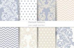 Vecteur réglé par modèles de damassé Décor baroque d'ornement Fond de cru Textures bleues en pastel de tissu de couleur Image stock