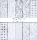 Vecteur réglé par modèles de damassé Décor baroque d'ornement Fond de cru Textures de tissu de couleur en pastel Photo libre de droits