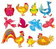 vecteur réglé par oiseaux abstraits illustration stock