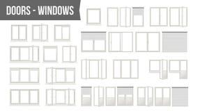 Vecteur réglé par portes de PVC Windows de plastique Différents types Volets d'abat-jour de rouleau Ouvert et fermé Front View Co Illustration Stock