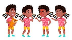 Vecteur réglé par poses d'enfant de jardin d'enfants de fille noir Afro-américain Petits enfants amicaux Mignon, comique Pour le  illustration stock