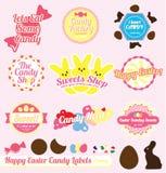 Vecteur réglé : Rétro étiquettes de sucrerie de Pâques Images libres de droits