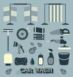 Vecteur réglé : Rétros icônes et silhouettes de station de lavage illustration libre de droits
