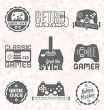 Vecteur réglé : Rétros labels et icônes de jeu vidéo Photo stock