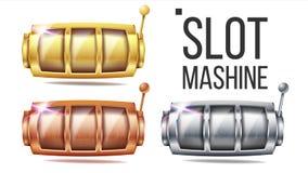 Vecteur réglé vide de machine à sous D'or, argenté, bronze Calibre de machine de rotation Illustration de casino de gros lot de f illustration de vecteur