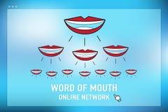 Vecteur : réseau en ligne de bouche à oreille sur l'écran de navigateur au bleu Image libre de droits