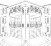 Vecteur résidentiel 09 de Chambre de coin moderne de construction illustration stock