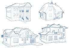 Vecteur résidentiel de bâtiment de Chambres de famille d'isolement sur le blanc illustration libre de droits
