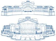 Vecteur résidentiel de construction de logements de famille d'isolement sur le blanc illustration de vecteur