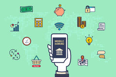 Vecteur : Remettez le mobile de prise avec des icônes d'activité d'opérations bancaires avec le monde Photo stock