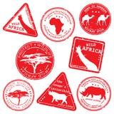 vecteur réglé d'estampille de l'Afrique sauvage Image libre de droits