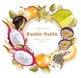 Vecteur rond de cadre de fruits exotiques réaliste Le fruit du dragon, passiflore, passiflores comestibles de passiflore, carambo Image stock