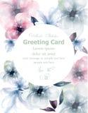 Vecteur rond de carte d'aquarelle de fleurs de ressort Décor floral de floraison sensible de bannière Carte d'invitation, cérémon illustration libre de droits