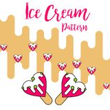 Vecteur rose d'amour de modèle de couleur de crème glacée d'impression illustration de vecteur