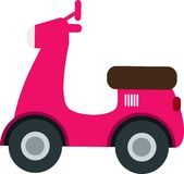 Vecteur rose mignon de voiture de Vespa sur le Blackground blanc illustration libre de droits