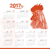 Vecteur rouge de calendrier d'impression de coq illustration libre de droits