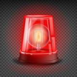 Vecteur rouge de sirène de clignoteur objet réaliste Effet de la lumière Balise pour des voitures de police ambulance, camions de illustration libre de droits