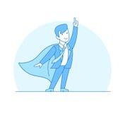 Vecteur rouge i de cap de super héros de costume plat linéaire de point illustration stock