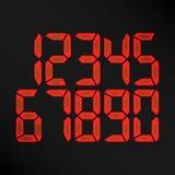 Vecteur rougeoyant de nombres de Digital Nombres rouges sur le fond noir horloge d'etro, compte, affichage d'affichage à cristaux Photos libres de droits