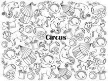 Vecteur sans couleur d'ensemble de cirque Photographie stock libre de droits