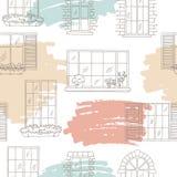 Vecteur sans couture d'illustration de croquis de modèle de couleur graphique de Windows Photographie stock libre de droits
